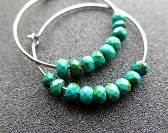 turquoise earrings. hypoallergenic hoops. made in Canada.