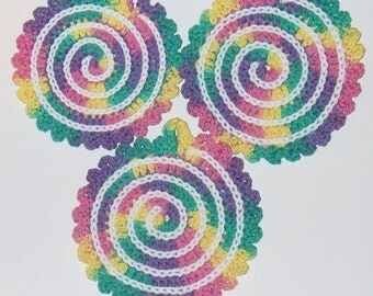 Over-sized Cotton Spiral Coasters - Set of Three - ready to ship - crocheted