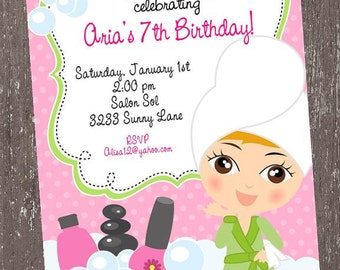 Manicure, Pedicure and Spa Party Birthday Invitations - 1.00 each with envelope