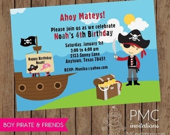 Boy Pirate Birthday Invitation - 1.00 each with envelope