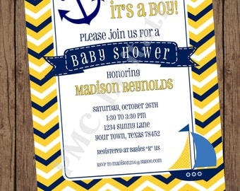 Chevron Yellow White Blue Nautical Baby Shower Invitations - 1.00 each with envelope