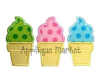 Machine Embroidery Design Applique Ice Cream Trio INSTANT DOWNLOAD
