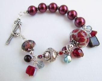 Red Boro Beaded Lampwork Bracelet, Handmade by Harleypaws, SRAJD  OOAK