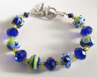 Handmade Lampwork Bracelet in Lime Green, Blue, and Aqua with Cute Horse Charm, Handmade by harleypaws, SRAJD