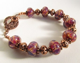 Handmade Lampwork Beaded Bracelet, with Copper Beads, Pink Purple, Amber, Cream, Handmade by by Harleypaws, SRAJD