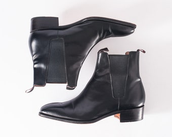 Vintage Paul Smith Black Ankle Boots, 1980s Designer Leather Shoe Boots, Rocket Boots, Women's Shoes, Booties & Ankle Boots