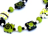 Green and black necklace, green and black lampwork glass squares, chunky lime statement necklace