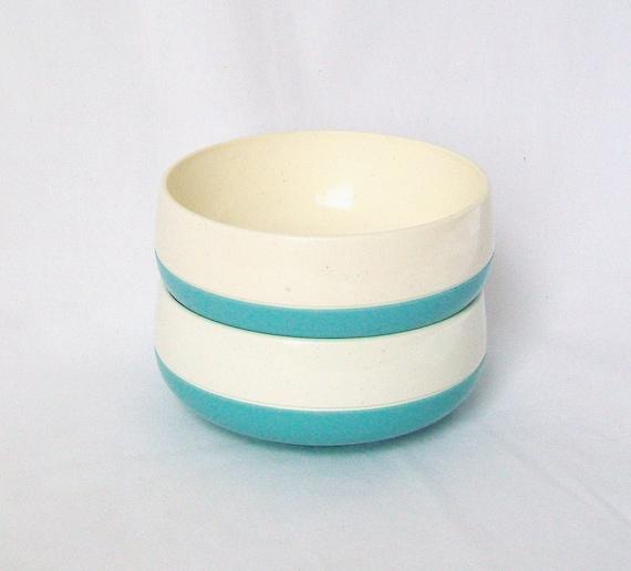Vintage Kitchen Bowls: Vacuum Bowls Aqua Retro Kitchen Pair Turquoise By Pinkpainter
