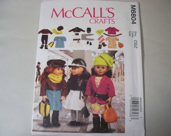 "New McCall's 18"" Doll Clothing Pattern, M6804 (Free US Shipping)"