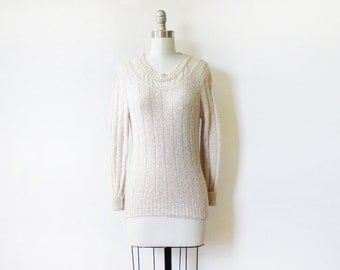 pointelle lace sweater, vintage 80s oatmeal cream lace sweater, extra small pullover sweater
