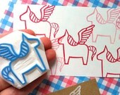 pegasus hand carved rubber stamp. dala horse stamp. fairytale birthday stamp. card making. gift wrapping. birthday christmas holiday crafts