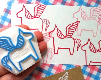 pegasus hand carved rubber stamp. dala horse stamp. fairytale birthday stamp. birthday christmas scrapbooking. diy gift. holiday crafts. no1