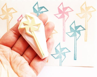 paper windmill stamp. windmill hand carved rubber stamp.  party stamp. gift wrapping. scrapbooking. birthday christmas craft projects
