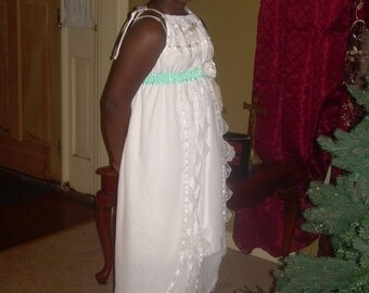 Custom Flower Girls Pillowcase Dress Wedding Heirloom Beach White Chiffon Lace Layers High Low Size 2t 3t 4t 5 6 7 8 10 12 14 16