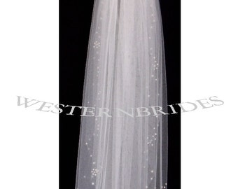 2 Tier CRYSTALS and PEARLS EDGE  wedding Bridal  veil with crystal and pearl comb Diamond white, Ivory or White