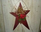 Rose Bouquet Star Hanger, Primitive, Rustic, Gift, Valentines Day, Mother's Day, Home Decor, OFG, FAAP, HAFAIR