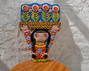 Fanciful Folk Art  Vintage Wall Sculpture From Ecuador Taller Guayasamin Shop