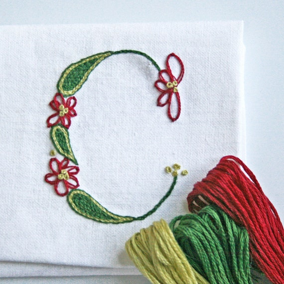 Crewel embroidery kit diy pattern pdf n monogram c is for