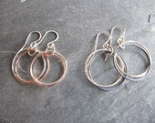Double Circle Earrings in Silver and Copper