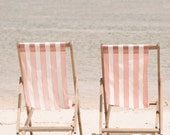 Beach Photography - Yours & Mine 8x10 - pink and white candy stripe deck chairs -