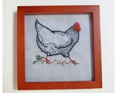 Framed Print of Hand Embroidered Plymouth Rock Chicken