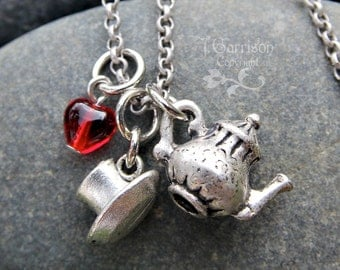 Tea time necklace - fancy tea pot and tea cup charms, red glass heart- antiqued silver- free shipping USA -British - Wonderland -retro style