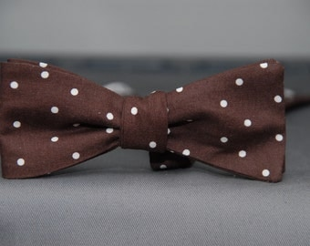 White Polka Dots on Brown  Bow Tie