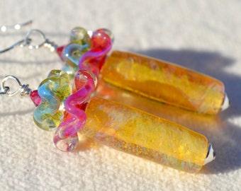 SUBTLE BEAUTY-Handmade Lampwork and Sterling Silver Earrings