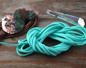 Cyan Ocean Blue: Faux Suede Leather Cord (Microfiber), 3mm x 15ft bundle (5 yards) / DIY Cord Supplies, Faux Suede Lace, Vegan Suede Cord