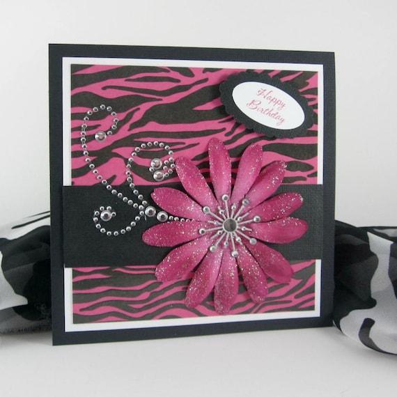 Zebra Print Card Handmade Birthday Card Personalized Card