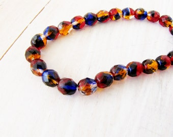 Amber Brown Blue Clear Beads Faceted 6 mm Strand of 25 Jewelry Supplies