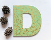 Personalized Mint Decorative Initial Monogram Wooden Sign Letter D -  Made in Israel Home Decor