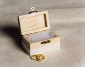 Rustic Wedding Ring Box with Lace - Ring Bearer Pillow Alternative