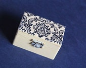 Damask Wedding Ring Bearer Box - Pillow Alternative - Elegant, Floral, Rustic, Pastel