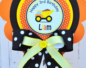 Dump Truck  Birthday Centerpiece,Construction Birthday Party, Deluxe  Dump Truck Sign