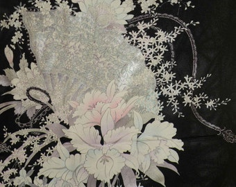 Silk Kimono Fabric Wrap/Shawl/Shrug..Roses..Cherry Blossom..Orchids Bouquet..Long Island Wedding/Bridal Gift..Black/Lavendar/Clutch/Purse