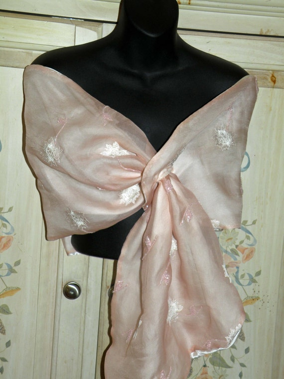 Silk Organza Wrap/Shawl/Shrug..Long Island Bride/Wedding Gift.Embroidered floral w/beads..Pink/Ivory..Pull Thru Hands Free...Clutch to match