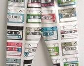 littlefour organic cotton knit cassette tape print baby leggings NB-5T