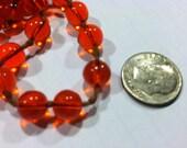 Vintage Orange Glass Beads Translucent FREE SHIPPING