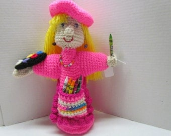 Crochet Girl Artist Doll~Coloring~Photo Prop~Birthday Gift~Gift for Girl~Classroom~Artist~Learning Toy~Creativity Toy