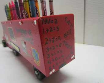 Semi Truck~Crayon Holder~Educational Toy~Handmade Wooden Toy~Birthday Gift~Christmas Gift~Playroom Toy~Classroom~Artist~Art Accessory~Child
