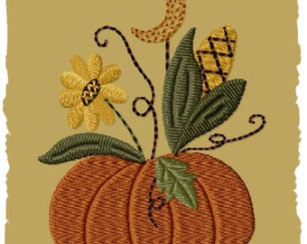 Primitive Machine Embroidery Design-Moonlite Pumpkin--Version 1--(4x4)-INSTANT DOWNLOAD