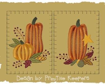Primitive Machine Embroidery Design-Prim Pumpkin Hand Towel-Version 1-(2 Designs)-Medium Size-INSTANT DOWNLOAD