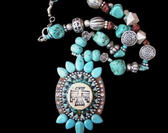 Southwestern Native American Style Thunderbird Rhinestone and Turquoise Chunky Necklace