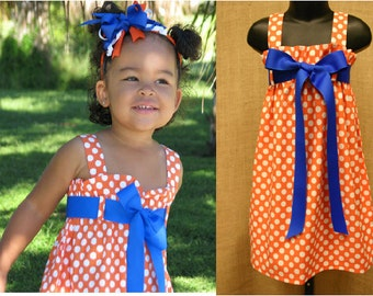 The Zadee Dress...Game Day Dress.... Auburn, Clemson, Florida, Tennessee...Girls Polka Dot Dress....Orange Polka Dot Dress