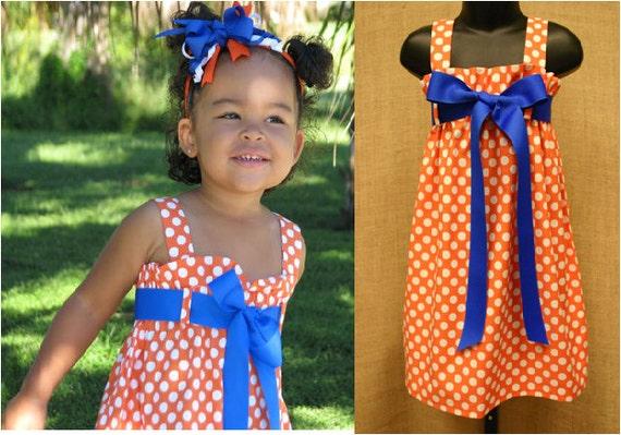 The Zadee Dress...Game Day Dress.... Auburn, Clemson, Florida, Tennessee...Girls Polka Dot Dress....Orange Polka Dot Dress