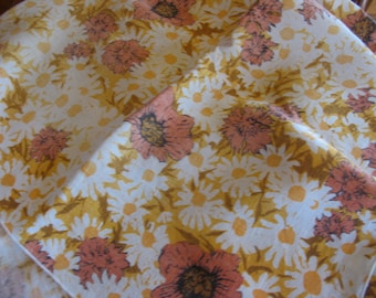 Vintage Flower Power 1960s Cotton Tablecloth, Poppies, Daisies