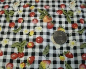 By the yard wide  Fabric gingham with strawberries Quilting Extra Wide  58 inches Checkered  Print  wide cotton