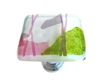 White Spring Colorful Art Glass Cabinet Knob - Decorative Cabinet Hardware