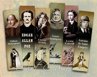Printable download Bookmarks MOST FAMOUS WRITERS Digital Collage Sheet print-it-yourself Craft Paper Art Cult vintage images gift tags